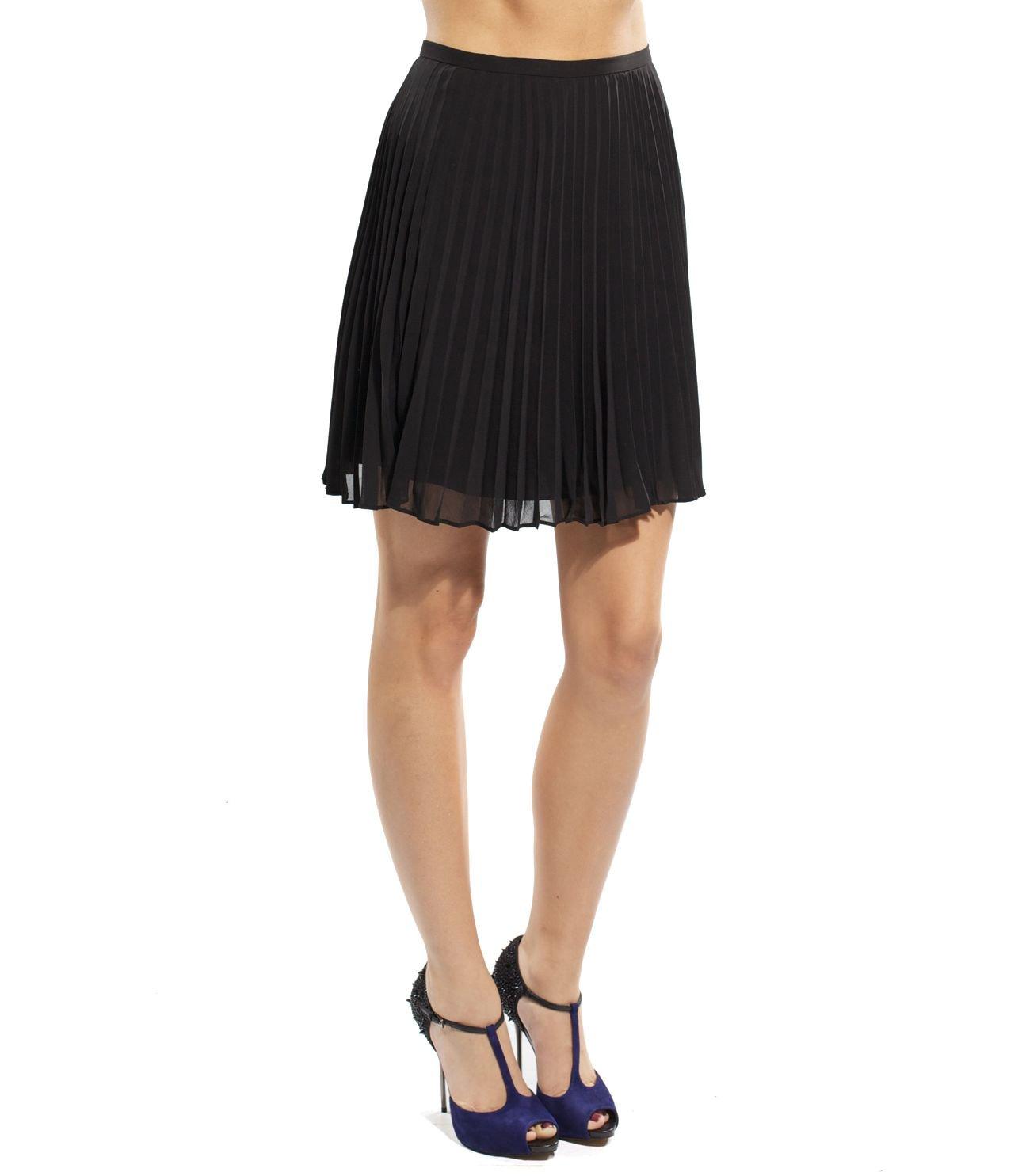 Halston Heritage Short Pleated Skirt For Women In Black, 4