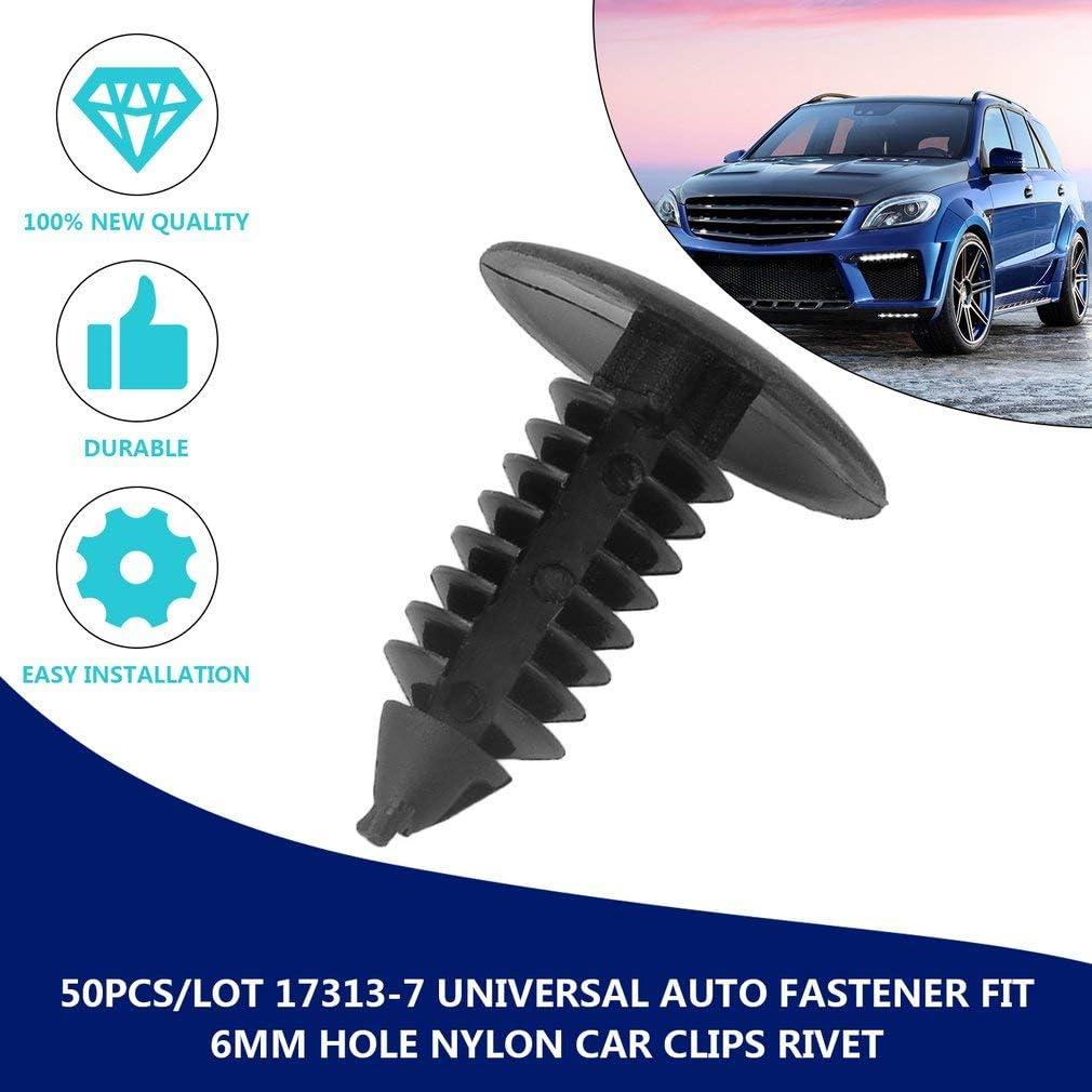 lot 17313-7 Universal Auto Fastener fit 6mm Trou Nylon Clip de Voiture Fender Bumper Shield Retainer Rivet en Plastique pour Cadeaux de No/ël Leoboone 50Pcs
