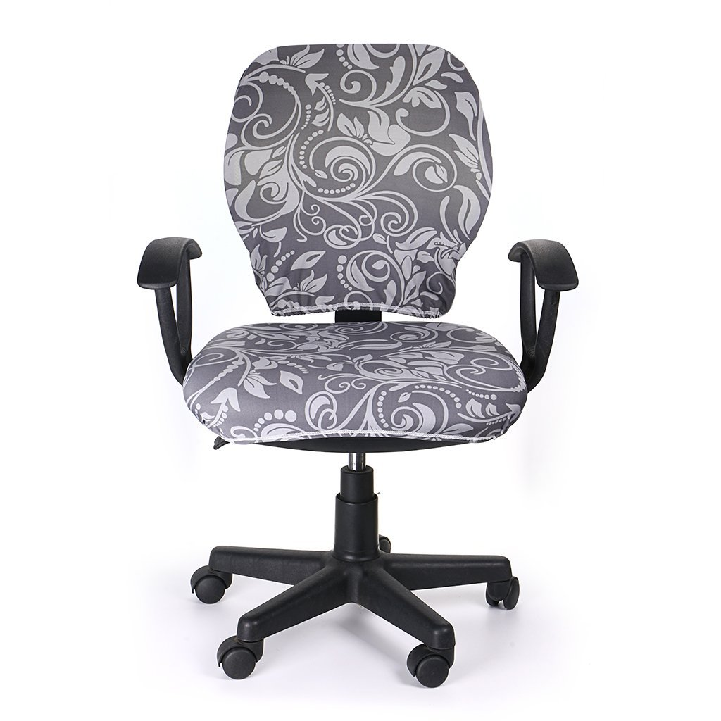 Universal Stretchable Chair Cover Polyester Chair Cover Washable Rotating Chair Slipcover BTSKY Computer Office Chair Covers Black