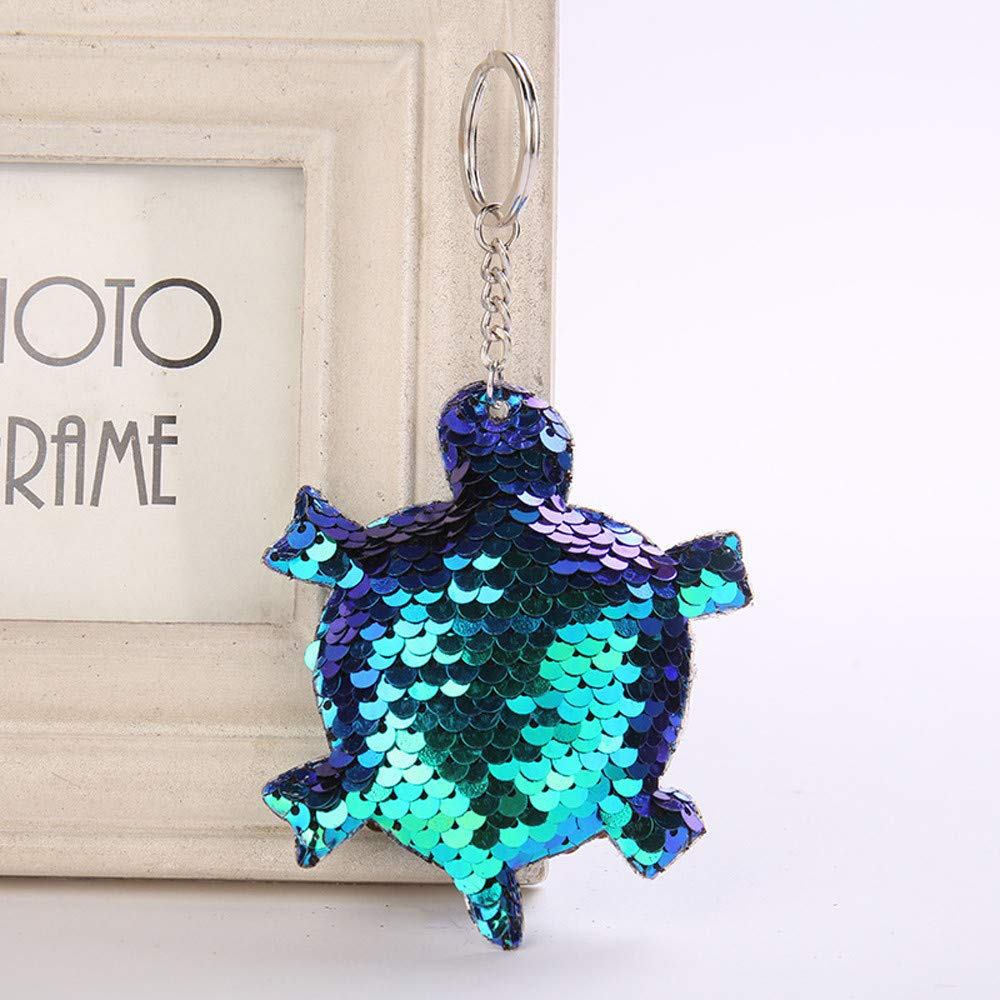 Aobiny Keychain, Cute Star Sequin Keychain Key Ring Tortoise Sequin Pendant Gift Keychain for Women Girls, Lovers, Girls, Boys (Blue) by Aobiny (Image #2)
