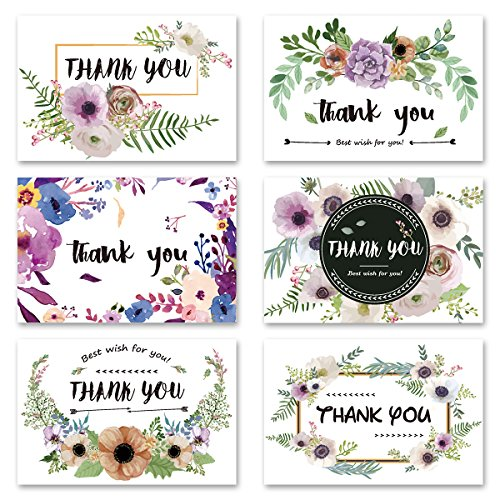 Thank You Cards, HERKKA 48 Pack Floral Flower Greeting Cards Notes for Wedding, Baby Shower, Bridal, Business, Anniversary - Design Blank Inside 4 x 6 inch- Brown Craft Envelopes Included.