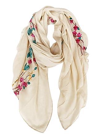 DAMILY Coton Châle Foulard Etole Echarpe avec Fleurs Brodées pour Femmes  Multicolores (BeigeMulticolore 5cba8fb5804