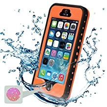 iPhone 5S Waterproof Case, Febe iPhone 5 Waterproof Case - Protective Cases Cover for Apple iPhone 5S 5 iPhone 5 Case / iPhone 5S Case with Built-in Ultra Clear Screen Protector - Slimmest Profile with Capability of WaterPROOF, ShockPROOF, SandPROOF, SnowPROOF [Works with TouchID] - Orange