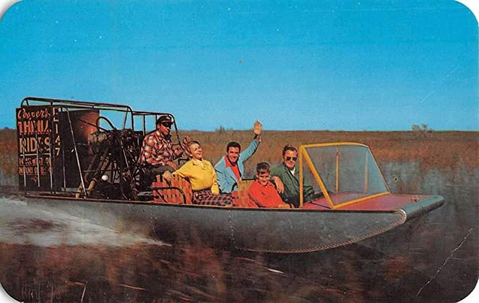 Miami Florida Airboat Rides Everglades Vintage Postcard K107188 At