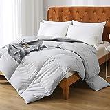 Oaken-Cat Gray Goose Down Feather Comforter Full/Queen - 100% Organic Cotton, Medium Warm All Seasons Machine Washable Duvet