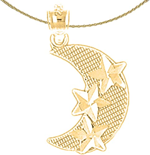 Jewels Obsession Moon Necklace Rhodium-plated 925 Silver Crescent Moon Pendant with 16 Necklace