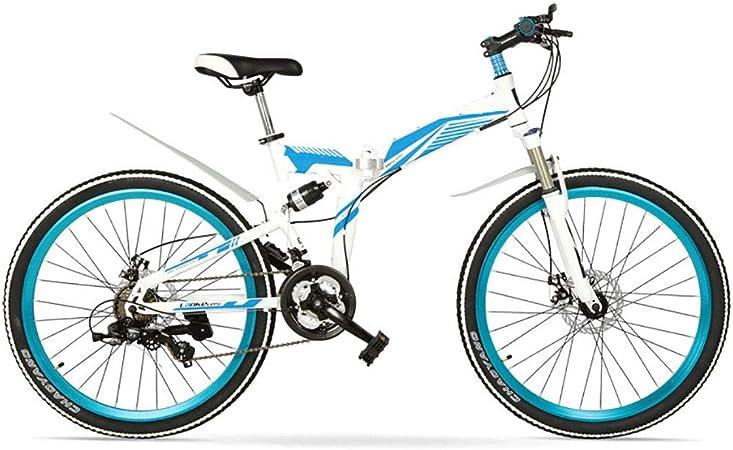 Bicicleta de montaña plegable de 24 pulgadas, 21 velocidades adultos freno de disco de velocidad variable bicicleta plegable, deportes asiento hueco, delanteros ajustables y ángulos traseros for una e: Amazon.es: Hogar