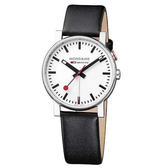Mondaine SBB Evo Alarm 40mm A4683035211SBB Reloj de pulsera Cuarzo Hombre correa de Cuero Negro: Amazon.es: Relojes