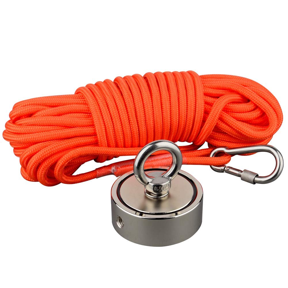 Mutuactor Fishing Magnet Double Sides Combined 1240lb Magnetic Pull Force, Heavy Duty Neodymium Magnet N52 with 49 Feet(15m) Durable Rope, Powerful Strong Magnetic of Retrieving Treasure in Rivers