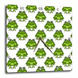 3dRose dpp_204729_1 Cute Green Frog Pattern Wall Clock, 10 by 10