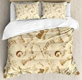 Beige Duvet Cover Set Queen Size by Ambesonne, Various Sized Chess Game Pieces Players Vintage Syle Retro Backgound Urban Bohemian Decorative, Decorative 3 Piece Bedding Set with 2 Pillow Shams, Beige