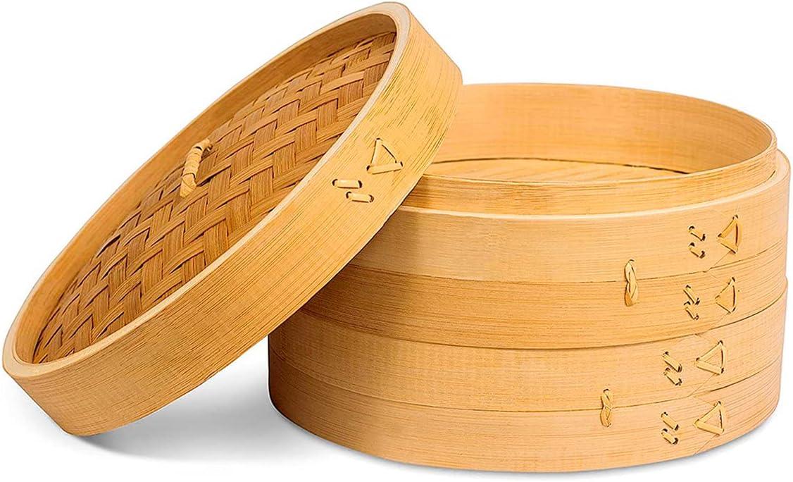 Bamboo Steamer for Vegetables, Bun Steamer, Dumpling Steamer, Stackable Steamer, Bao Steamer, Chinese Dumpling Steamer, Food Steamer Basket, Steam Basket for Vegetables, Bamboo Steamer Basket