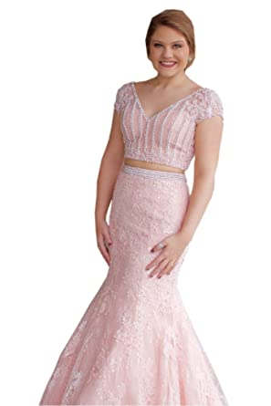 Mollybridal Mermaid 2 Piece Prom Evening Dresses with Short Sleeves Pearls Beaded Lace Applique Pink 0