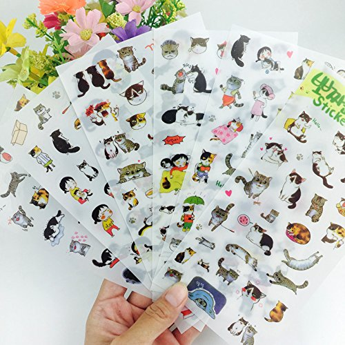6 Sheets Super Cute Cat Stickers for DIY Albums Diary Laptop Decoration Cartoon Scrapbooking School Office Stationery Best Gift for Your Kids Cat Sticker Sheet