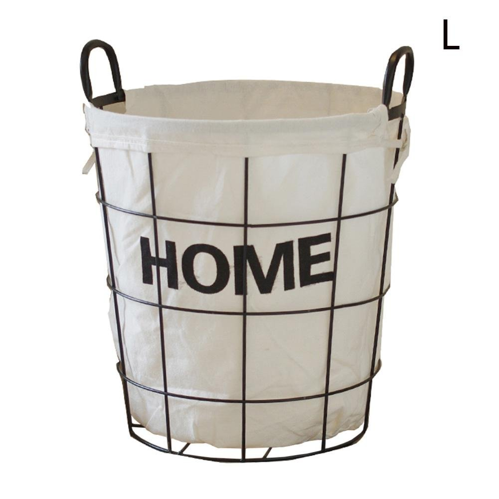 TSAR003 European Simple Iron Frame Waterproof Canvas Laundry Hamper Or Basket Dirty Clothes Storage Clothing Storage Barrels Dirty Clothes Barrel Basket Basket , B