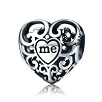 Everbling You and Me Openwork 925 Sterling Silver Bead Fits European Charm Bracelet
