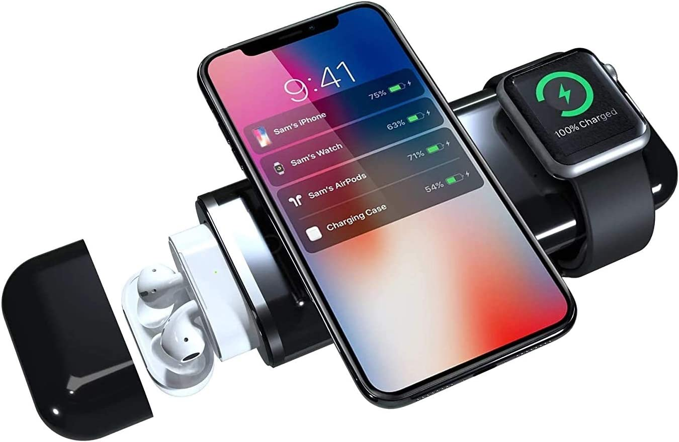 AirALLY 4 in 1 10,000mAh Wireless Powerbank Compatible with Apple Devices - Charge Your iPhone, iPad, AirPods, and Apple Watch with One Mobile Device (Black)