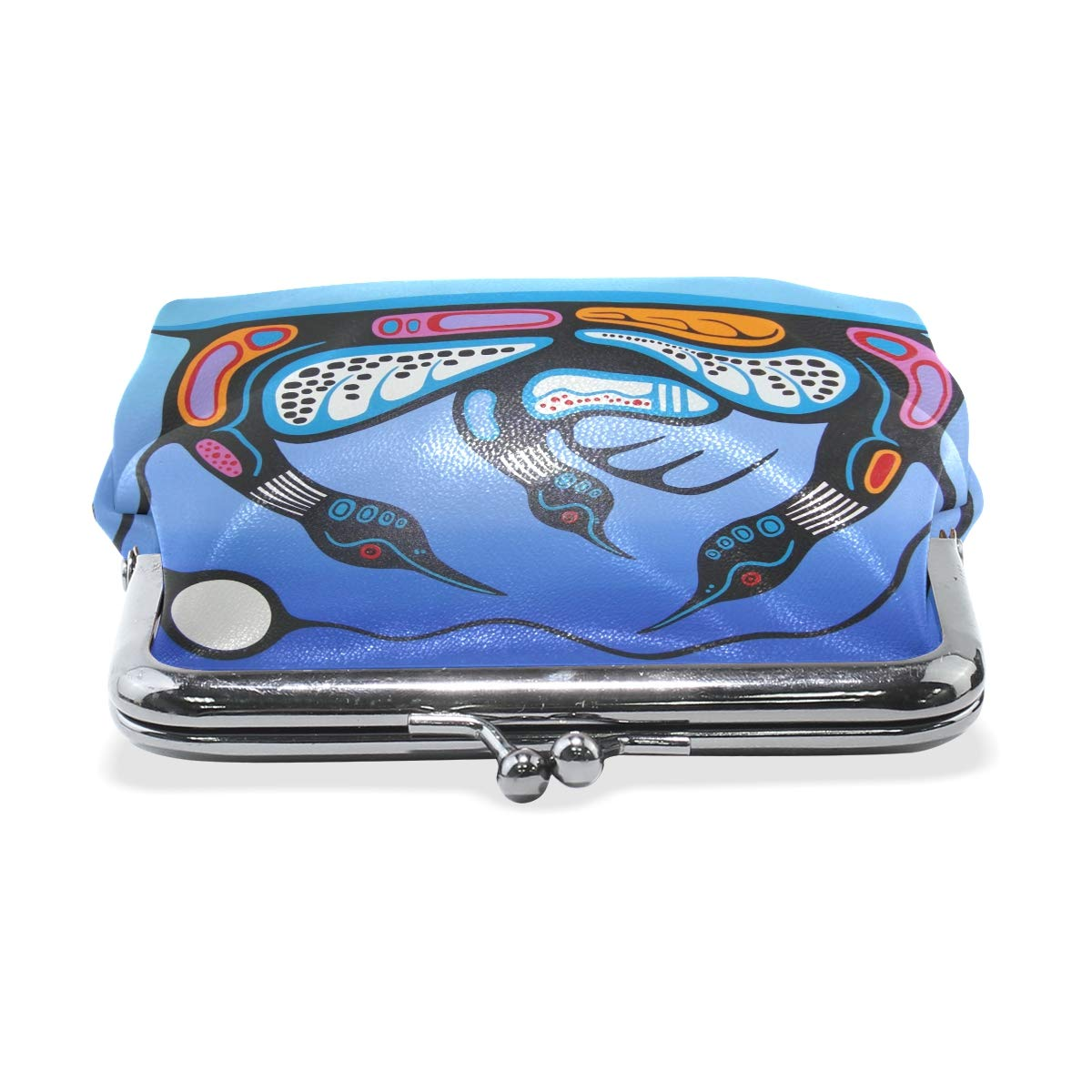 Women Wallet Purse Abstract Birds Party Clutch Bag Leather