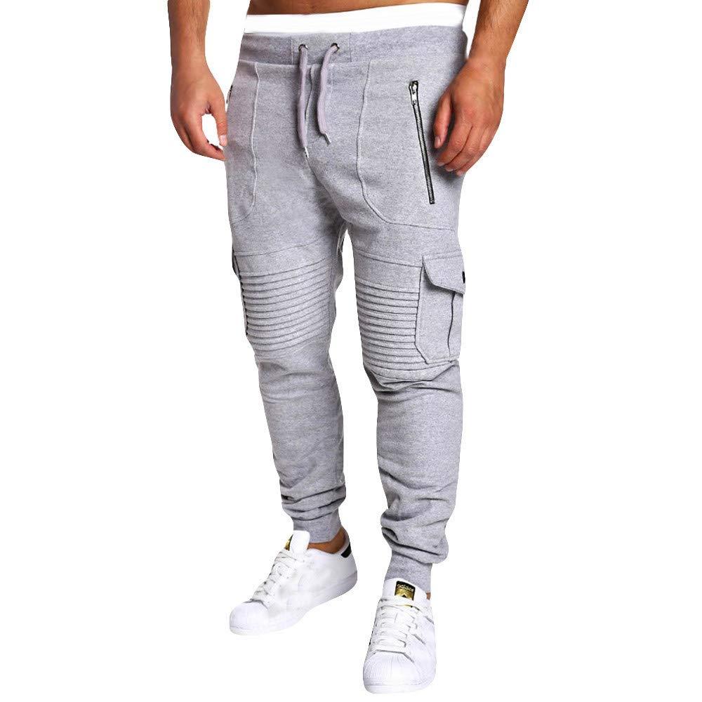 Pervobs Men Casual Drawstring Fold Overalls Pocket Sport Outdoors Pants Trouser