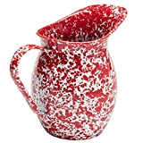 Enamelware Large 2 Quart Pitcher - Red Marble