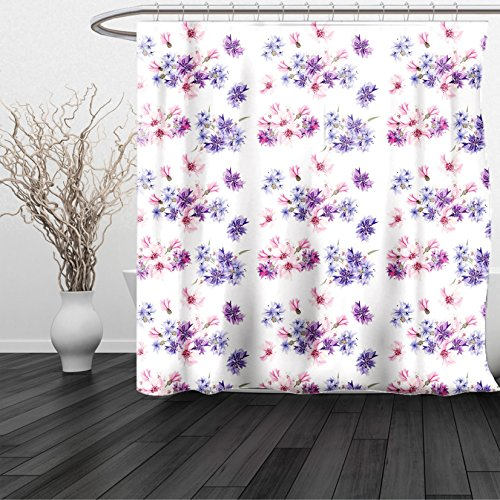 Excel Bouquet (HAIXIA Shower Curtain Watercolor Floral Pattern with Inspired Blossoming Nature Bridal Bouquet Lilac Lavender Pink)