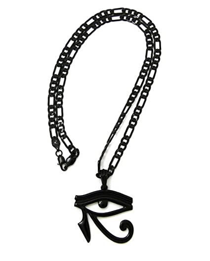 Amazon com: Werrox New Egyptian Symbols Black Pendant 24 Figaro