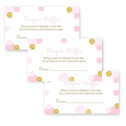 Amazon pink and gold baby shower diaper raffle game girls pink and gold baby shower diaper raffle game girls invite insert card set of 25 filmwisefo