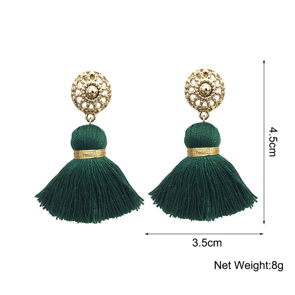ecfe11652 Amazon.com: 10 Colors Bohemian Tassels Earrings For Women Gold Color Metal  Simple Tassel Ethnic Jewelry Handmade Orange: Jewelry