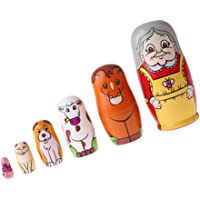 HOMYL 6PCS Painted Granny Animals Wooden Russian Nesting Dolls Babushka Matryoshka Toys Craft