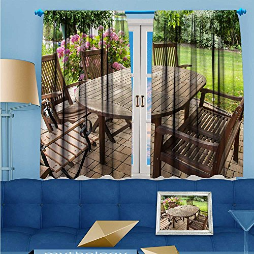 L-QNHOME Linen Curtains An open air wooden table and chair Print Window Curtain Drapes Set for Living Room 63