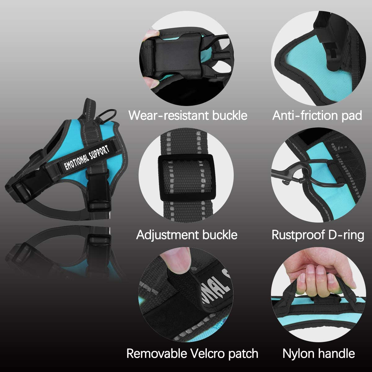 No-Pull Emotional Support Pet Vest Harness with 4 PCS Removeable Tags Reflective Breathable and Adjustable Pet Halters for Small Medium /& Large Dogs voopet Service Dog Harness