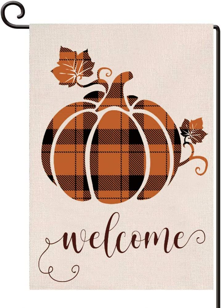 Disheen Welcome Fall Garden Flag, Buffalo Plaid Fall Outdoor Decorations Decor for Fall Harvest Thanksgiving, Autumn Pumpkin Garden Flags 12 X 18 Prime