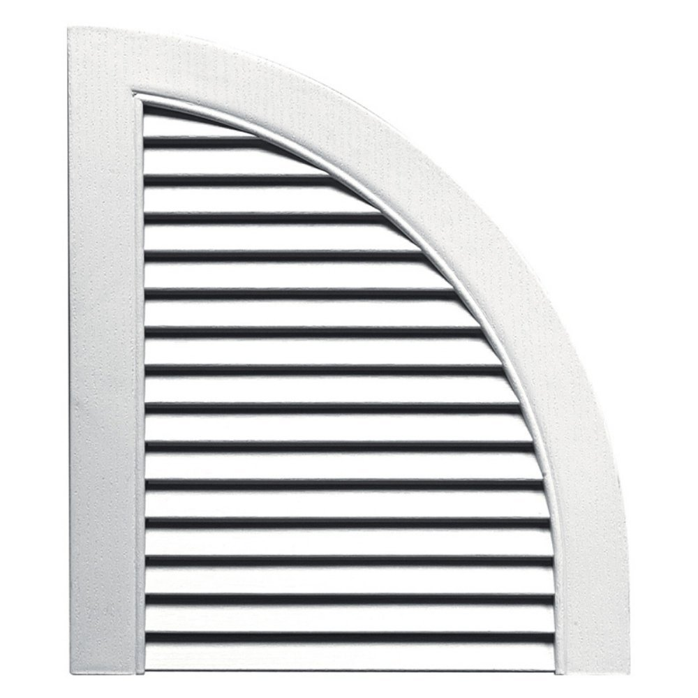 Builders Edge 14 In. x 17 In., Bright White, pair of Louvered Design Quarter Shutters by Builders Edge (Image #1)