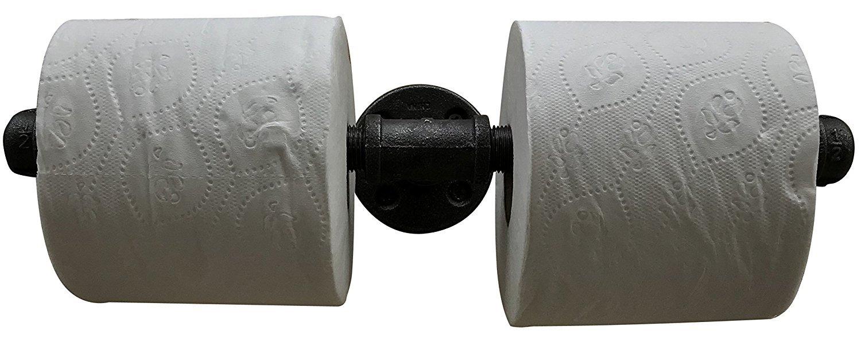 r/ústico Portarrollos de papel higi/énico para tuber/ías industriales casa de campo y muebles industriales 2 roll holder negro steampunk estilo: moderno hierro negro minimalista uso comercial//pesado