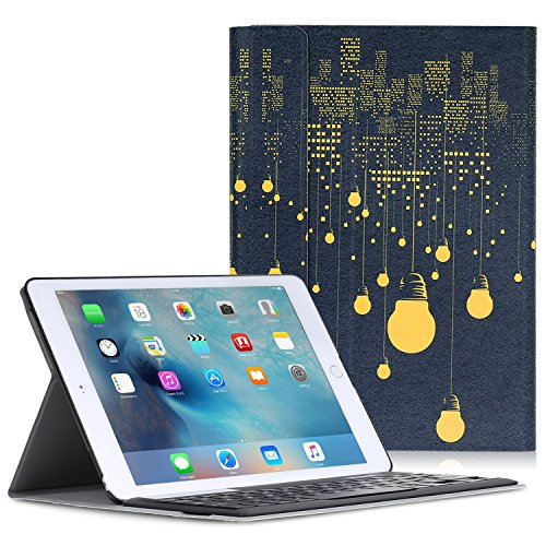 MoKo Keyboard Case for iPad Pro 9.7 - Wireless Keyboard Cover Case for Apple iPad Pro 9.7 Inch 2016 Release Tablet, City Night View by MoKo