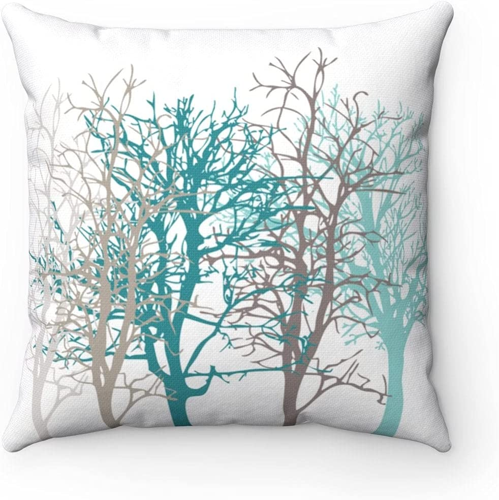 Tree Throw Pillow Cover Teal and Taupe Blue Fashion Modern Cushion Cover Modern Home Decor 18X18 Inches by Home Pillowcase for Housewarming Decor Gift for Mom Dad Boy Girl Best Pillow Case