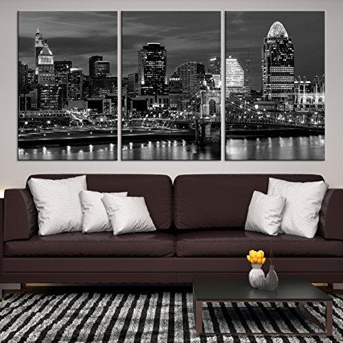 Cincinnati Canvas Print, Cincinnati Skyline Wall Art Canvas Print For Home  Decor And Living Room