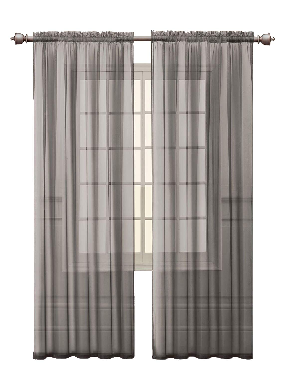 Victoria Classics 2 Pack: Ultra Luxurious High Thread Rod Pocket Sheer Voile Window Curtains by Assorted Colors (Gray)