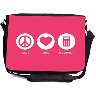 Rikki Knight Peace Love Accountant Tropical Pink Color Design Multifunction Messenger Bag - School Bag - Laptop Bag - with padded insert for School or Work - includes Pencil Case