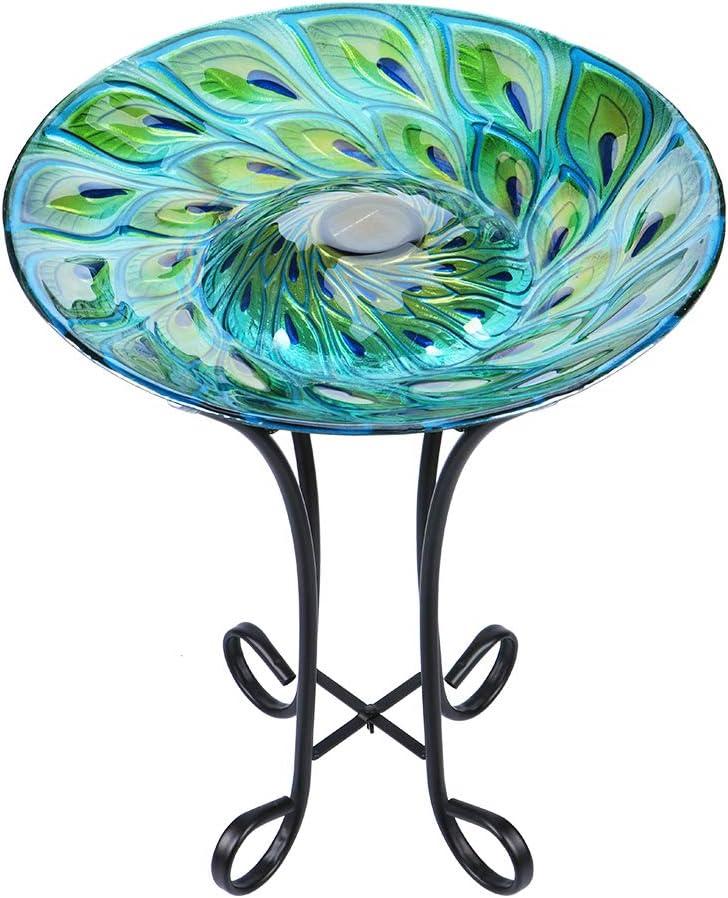 "MUMTOP Outdoor Glass Bird Bath Solar Birdbaths with Metal Stand for Lawn Yard Garden Peacock Decor,18"" Dia 21.65"" Height"