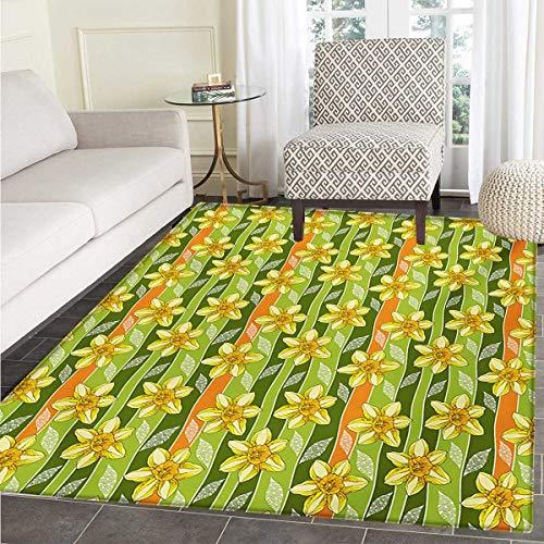 Daffodil Bath Mats Bathroom Modern Daffodils Illustration Striped Setting Vitality Inner Focus Herbal Theme Door Mats Inside Non Slip Backing 36