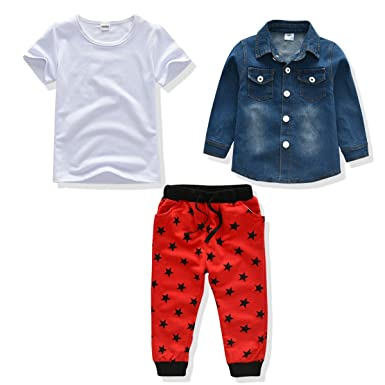 3d8b825407 Amazon.com: Little Boy Outfit Baby Denim Jacket+Tshirt+Pant 3PCS ...