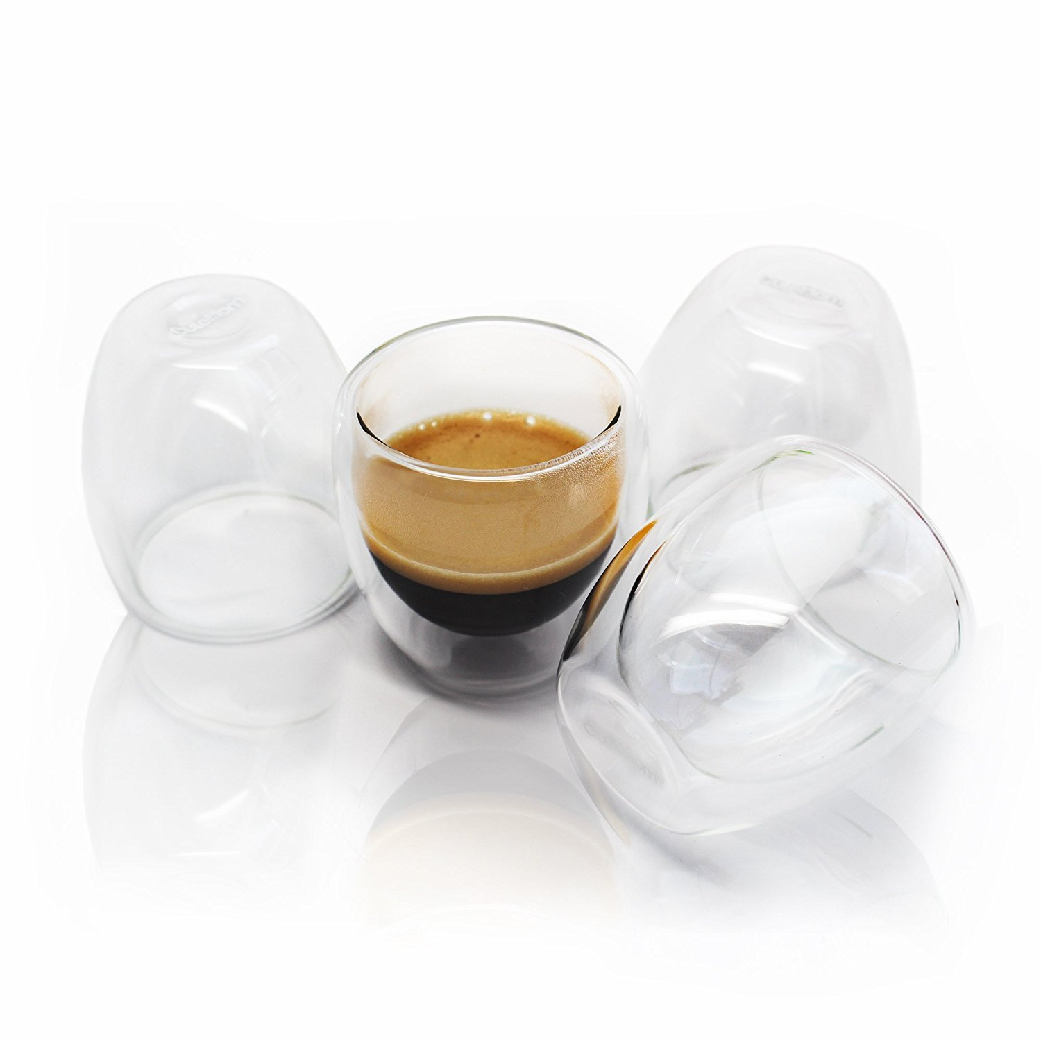 amazoncom espresso cups home  kitchen - cutehom espresso coffee cups  set of  double wall shot glasses