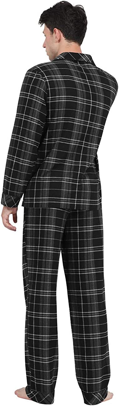 DISHANG Set Pigiama da Uomo Manica Lunga Pigiameria Leggero Abbottonatura Top e Pantaloni//Pantaloni Set Classico PJ in Tessuto a Doppia Altezza