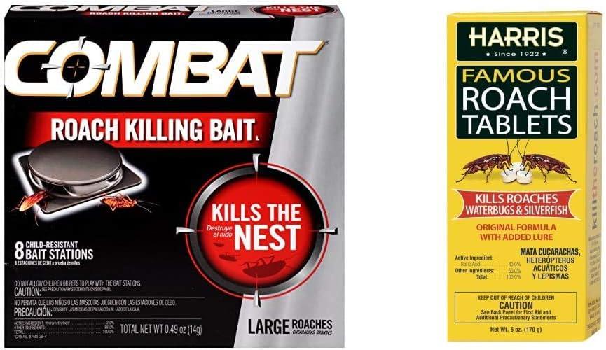 Combat Roach Killing Bait, Large Roach Bait Station, Kills The Nest, 8 Count & Harris Famous Roach & Silverfish Killer Tablets (6oz), Treats a Minimum of 12 Rooms, 145+ Tablets Included