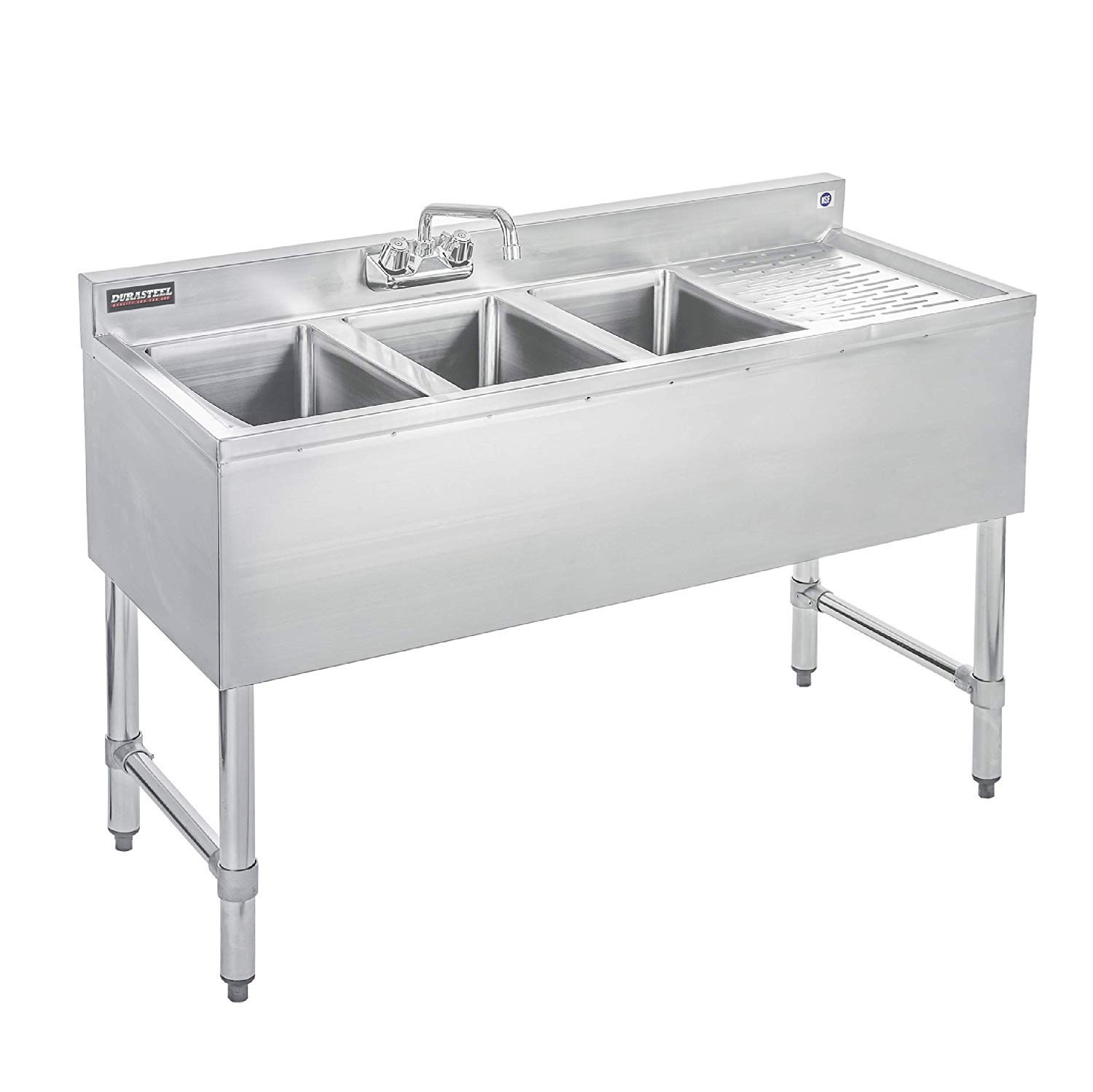 DuraSteel 3 Compartment Stainless Steel Bar Sink with 10'' L x 14'' W x 10'' D Bowl - Underbar Basin - NSF Certified - Right Drainboard, Faucet Included (Restaurant, Kitchen, Hotel, Bar)