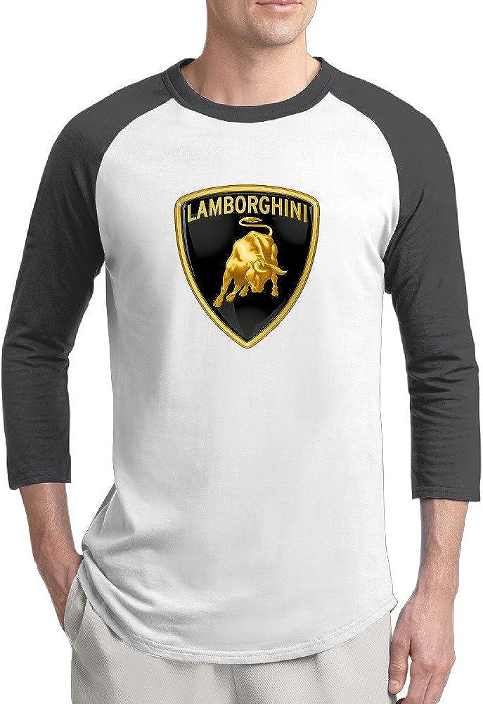 Zoena Men's Three Quarter Sleeve T Shirts Lamborghini Logo Black