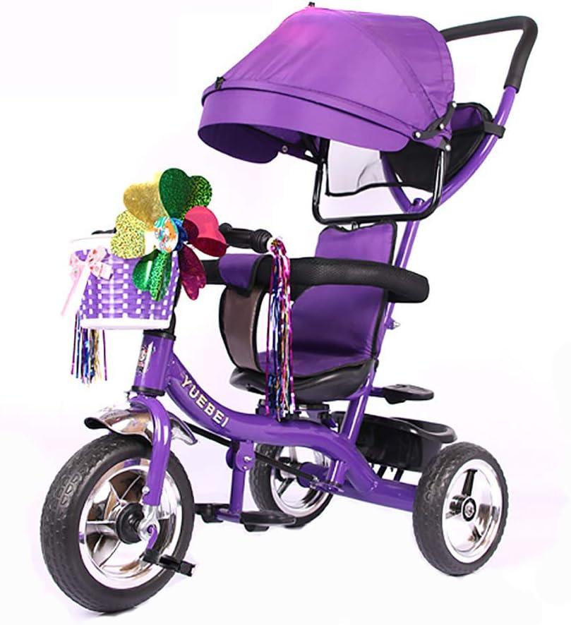 Aocean Triciclo Bebe Evolutivo,Trike Bike 4 EN 1 Triciclo para Niños +18 Meses Pedales con Capota Extraíble Plegable Barra Telescópica para Padres Triciclo de Empuje