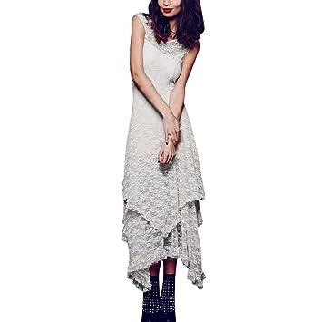 95e9381ab1e Jiayit Maxi Dresses for Women Women s Boho Irregular Lace Sexy Double  Layered Ruffled Trimming Long Dress