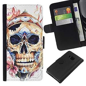 Be-Star la tarjeta de Crédito Slots PU Funda de cuero Monedero caso cubierta de piel Para HTC One M7 ( Skull Hat Floral Spring Bones Death )